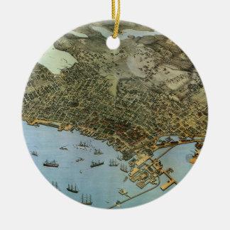 Vintage Antique Aeria Map of Seattle, Washington Ceramic Ornament
