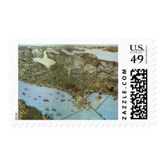 Vintage Antique Aeria Map of Seattle, Washington Postage Stamp