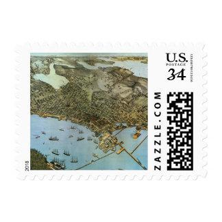 Vintage Antique Aeria Map of Seattle, Washington Stamps