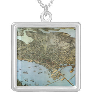 Vintage Antique Aeria Map of Seattle, Washington Silver Plated Necklace