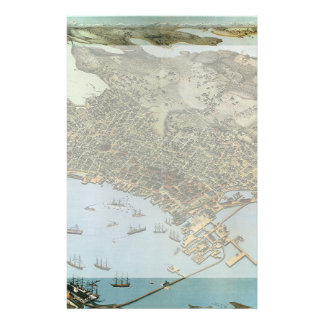 Vintage Antique Aeria Map of Seattle, Washington Stationery
