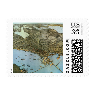 Vintage Antique Aerial Map of Seattle Washington Stamps