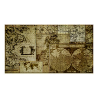 Vintage antique and rustic, world Maps Poster