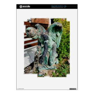 Vintage Antique angel Statue Capturing Snake Decals For iPad 2