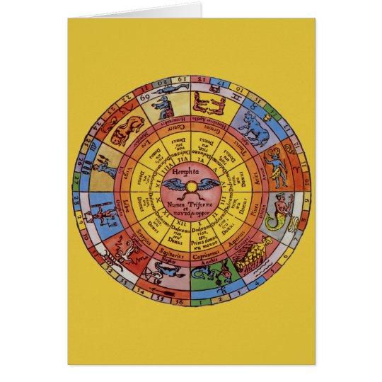 Vintage Antique Astrology, Celestial Zodiac Wheel Card