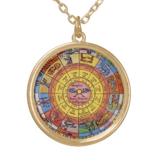 Vintage Antique Astrology, Celestial Zodiac Wheel Gold Plated Necklace