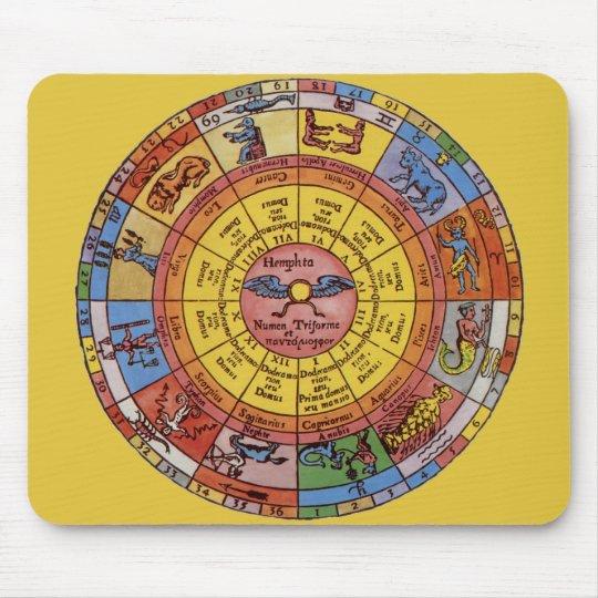 Vintage Antique Astrology, Celestial Zodiac Wheel Mouse Pad