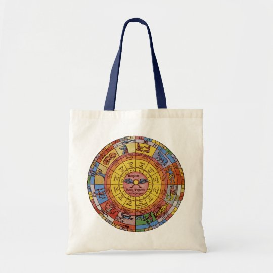 Vintage Antique Astrology, Celestial Zodiac Wheel Tote Bag