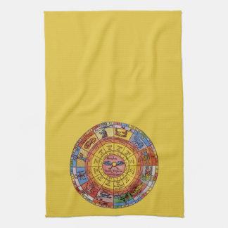 Vintage Antique Astrology, Celestial Zodiac Wheel Towel