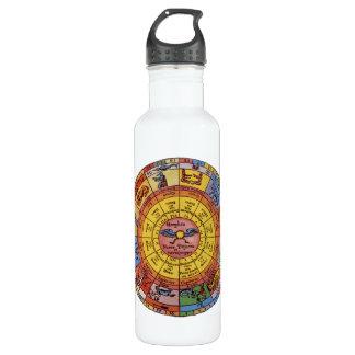 Vintage Antique Astrology, Celestial Zodiac Wheel Water Bottle