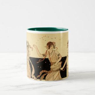 Vintage Antique Bacchus Dionysus Party Two-Tone Coffee Mug