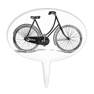 Vintage Antique Bicycle Silhouette Illustration Cake Topper