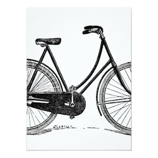 "Vintage Antique Bicycle Silhouette Illustration 5.5"" X 7.5"" Invitation Card"