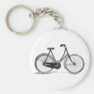 Vintage Antique Bicycle Silhouette Illustration Keychains