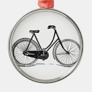Vintage Antique Bicycle Silhouette Illustration Metal Ornament