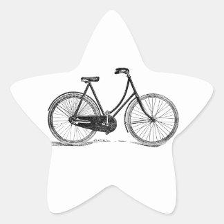 Vintage Antique Bicycle Silhouette Illustration Star Sticker