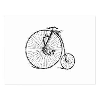 Vintage Antique Big Wheel Bicycle Postcard