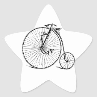 Vintage Antique Big Wheel Bicycle Star Sticker
