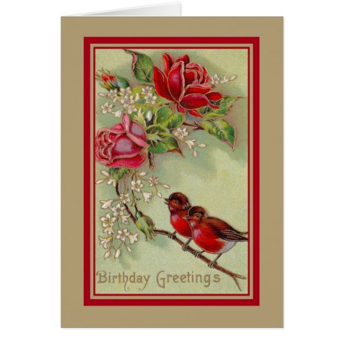 vintage birthday card with robins and roses