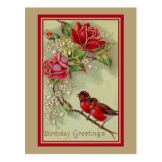 Vintage antique birthday greetings, robins, roses postcard