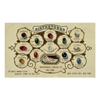 Vintage Antique Birthstones Customizable Print