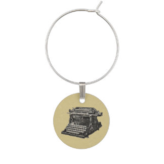Vintage Antique Black Old Fashioned Typewriter Wine Glass Charm