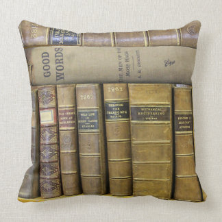Vintage Antique Book Library Collection Throw Pillow