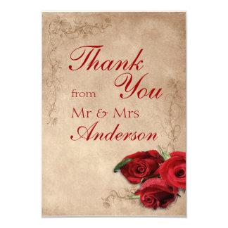 Vintage Antique Brandy Rose Wedding Thank You Card