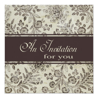 Vintage Antique Brown Floral Engagement Party 5.25x5.25 Square Paper Invitation Card