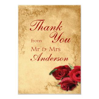 "Vintage Antique Caramel Wedding Thank You Card 3.5"" X 5"" Invitation Card"
