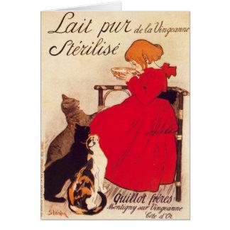 Vintage Antique Cats Girl Milk Theophile Steinlen Cards