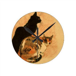 Vintage Antique Cats Theophile Steinlen Animals Round Clock