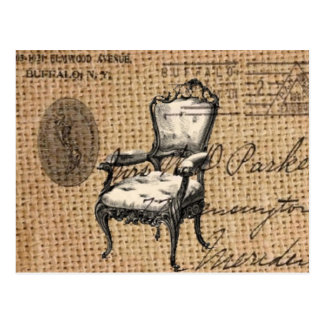 vintage antique chair on burlap background postcard
