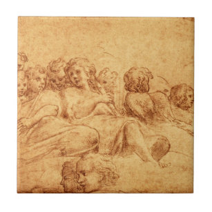Vintage Antique Choir Angels Drawing Renaissance Tile
