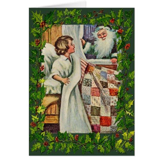 Vintage/Antique Christmas Card-Quilts, Santa Card
