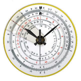 Vintage Antique Circular Slide Rule Large Clock