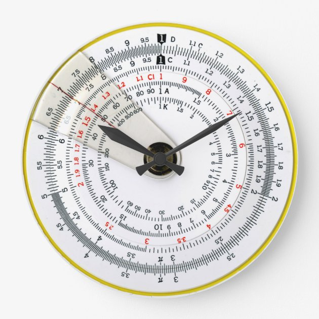 Studio Dalio - Vintage Antique Circular Slide Rule Photo Large Clock