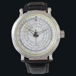 """Vintage Antique Circular Slide Rule Photo Wristwatch<br><div class=""""desc"""">(Image &#169; 2015 Deborah Dalio) – This unique wrist watch for the math enthusiast features a high-resolution scan of a vintage antique circular slide rule showing various numeric scales. An interesting gift for the nerdy geek in your life. (NOTE: The slide rule does not actually function.)</div>"""