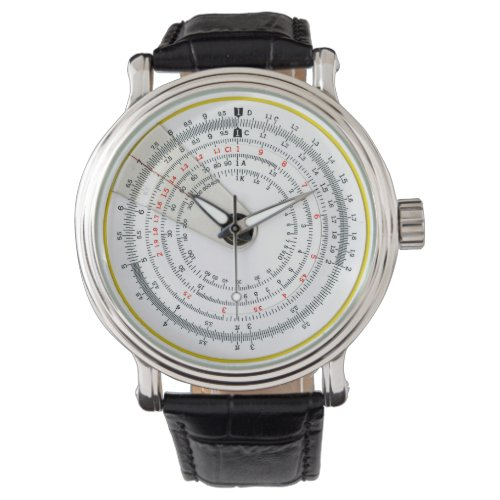 Vintage Antique Circular Slide Rule Photo Wristwatch