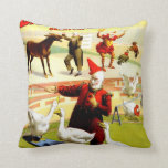 Vintage Antique Circus Clown and Geese Pillow