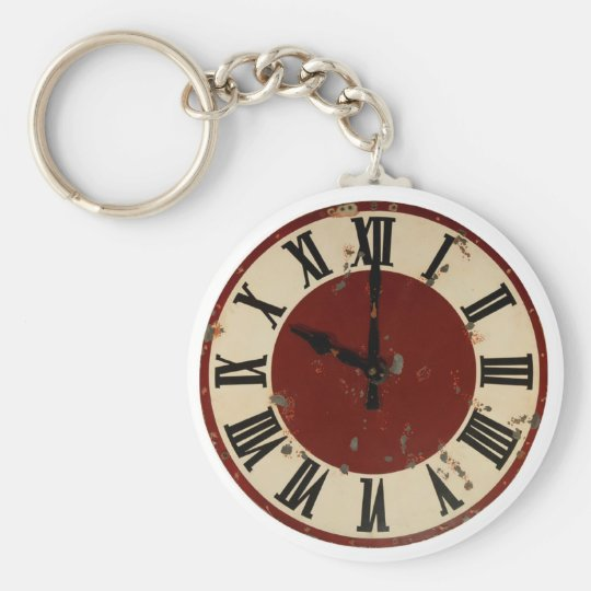 Vintage Antique Clock Face Distressed Keychain