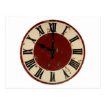 Vintage Antique Clock Face Distressed Postcard