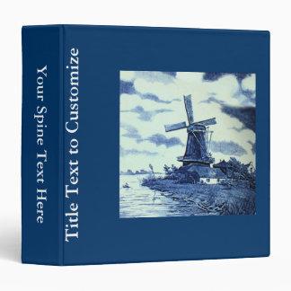 Vintage Antique Delft Blue Tile - Windmill 3 Ring Binder