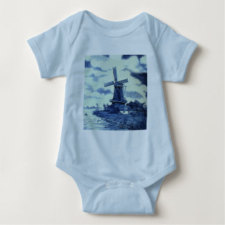Vintage Antique Delft Blue Tile - Windmill Baby Bodysuit
