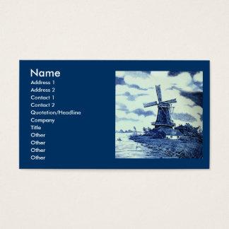 Vintage Antique Delft Blue Tile - Windmill Business Card