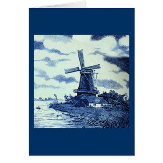 Vintage Antique Delft Blue Tile - Windmill Card