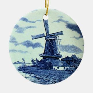 Vintage Antique Delft Blue Tile - Windmill Ceramic Ornament