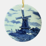 Vintage Antique Delft Blue Tile - Windmill Double-Sided Ceramic Round Christmas Ornament