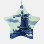 Vintage Antique Delft Blue Tile - Windmill Double-Sided Star Ceramic Christmas Ornament