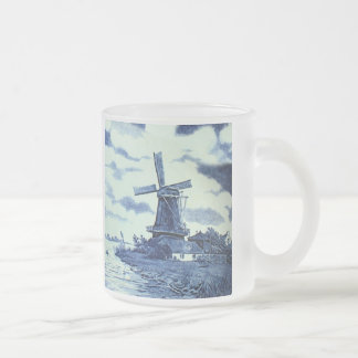 Vintage Antique Delft Blue Tile - Windmill Frosted Glass Coffee Mug